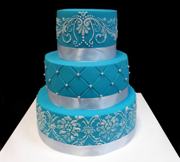 Свадебный торт Синий с лентами