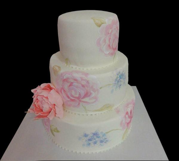 Свадебный торт с Нарисованными пионами