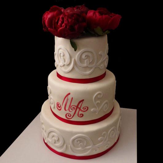 Свадебный торт с Объемнымии узорами
