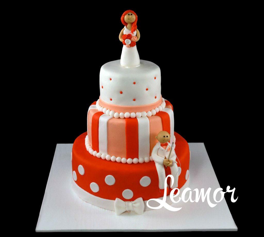 Свадебный торт в оранжевых тонах