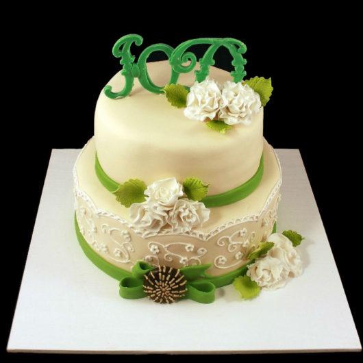 Свадебный торт в зеленых тонах