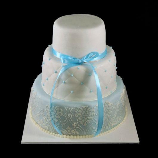 Свадебный торт бело бирюзовых тонах