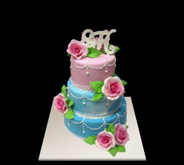 Розово-голубой свадебный торт
