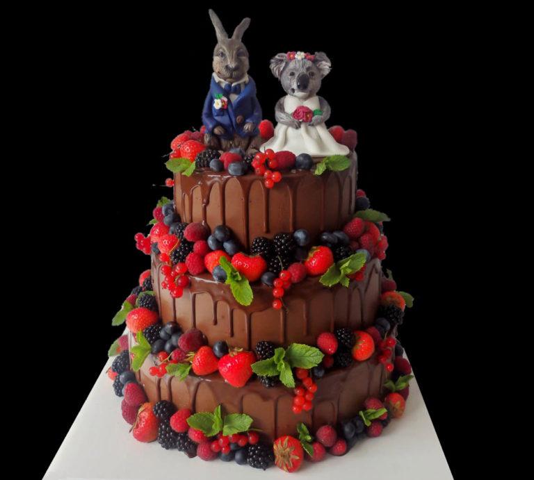 Свадебный торт шоколадный
