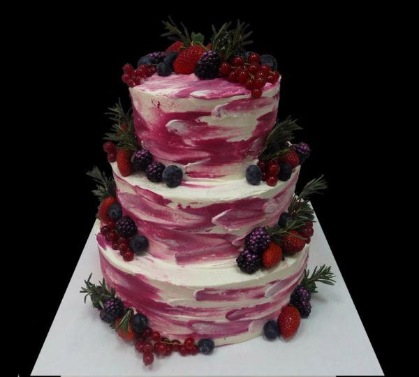 Бело-розовый свадебный торт