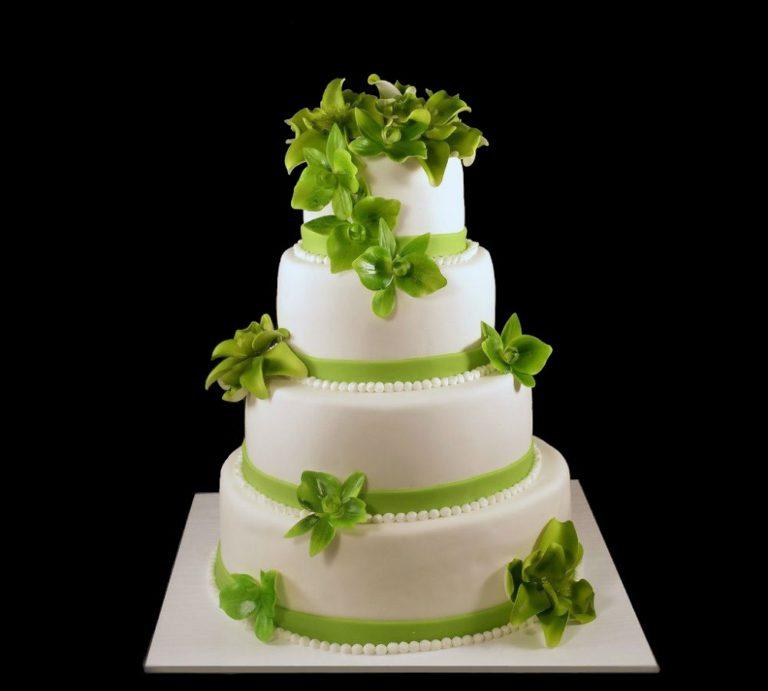 Свадебный торт зеленая орхидея