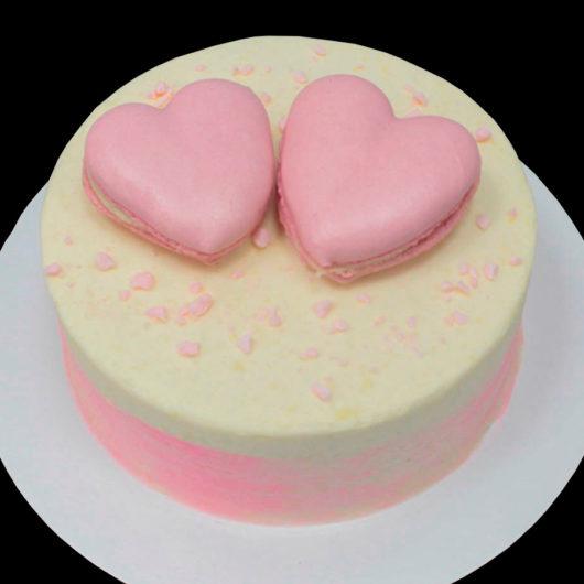 Торт два розовых сердца