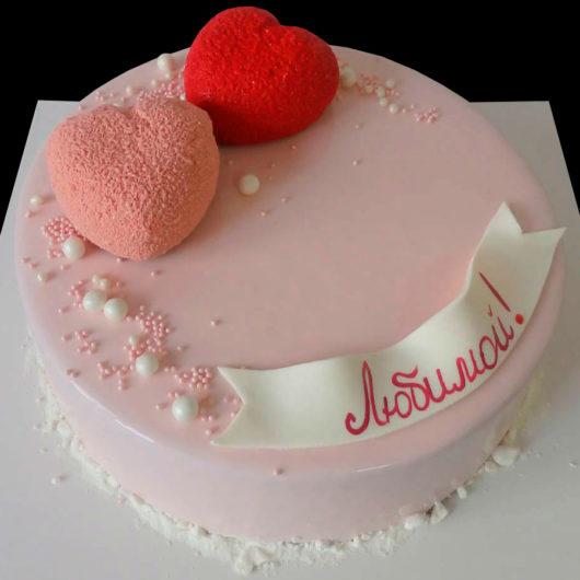 Торт два велюровых сердца