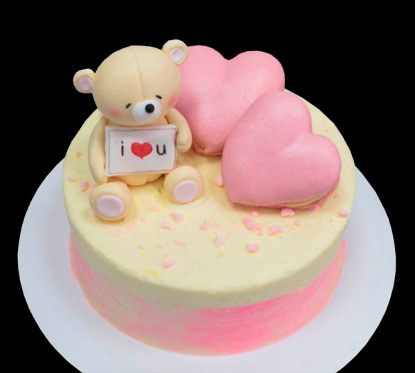 Торт мишка и 2 сердца