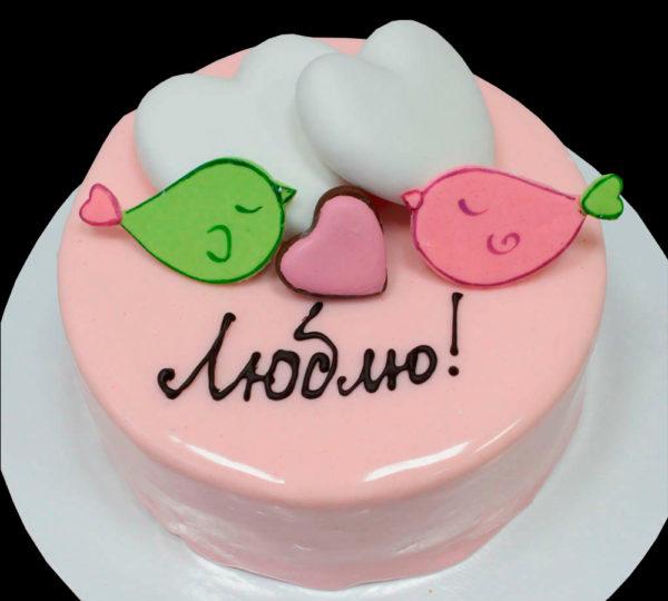 Торт птички и 2 сердца