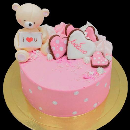 Торт розовый с мишкой