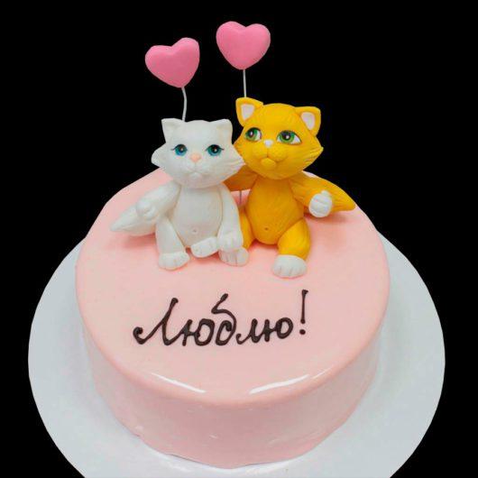 Торт в глазури с котиками